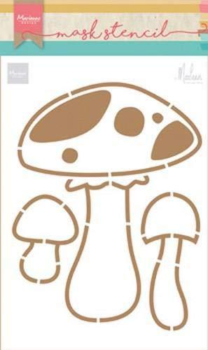 Marianne Design PS8015 Kunst und Handwerk Mask Schablone, Pilze, für Scrapbooking, Kartengestaltun und Papierbasteln, Kunststoff, transparent, 149 x 210 mm