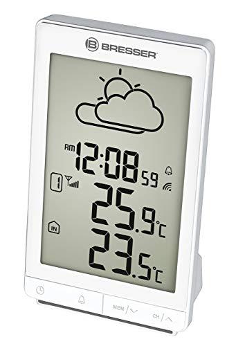 Bresser Wetterstation Funk mit Außensensor Temeo Trend STX mit großem Display, animiertem 12-24 Stunden Wettertrend, Innen- / Außentemperaturanzeige, Schlummerfunktion und DCF-Funksignal, silber