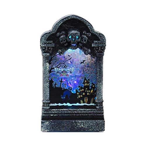 Winkey kleine Öllampe, Halloween Beleuchtung Desktop Grabstein Lampe Retro Kürbisschloss Licht kleine Öllampe Hauptdekoration KTV Requisiten (A)