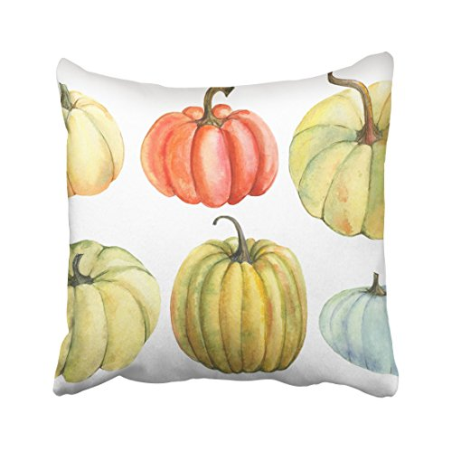 Emvency White Autumn Pumpkin Watercolor Hand Drawing Blue Drawn Fall Food Fresh Garden Gourd Halloween Throw Pillow Cover Covers 16x16 Inch Decorative Pillowcase Cases Case Two Side