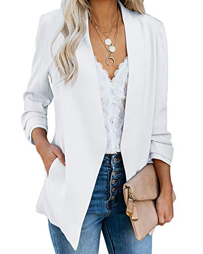 Ofenbuy Womens Casual Blazer Ruched 3/4 Sleeve Open Front Relax Fit Office Lightweight Cardigan Jacket Blazers White