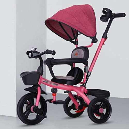 Kinderwagen kinderen driewieler met duwstang/wielkoppeling/draaibaar/met opbergmand vouwkinderwagen sportwagen buggy rood