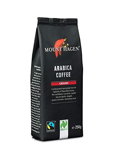 Mount Hagen Arabica Coffee 8.8 oz, Organic Coffee Ground, Fair Trade Coffee Organic, Ground Coffee Medium Roast, Gourmet Coffee French Press, Medium Roast, House Blend 100% Highland ArabIca