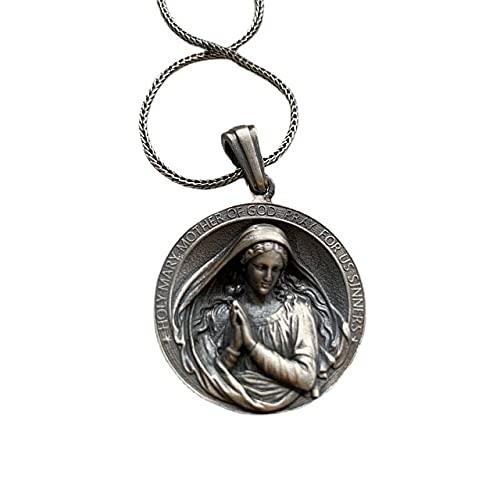 DZXCB Collar de Acero Inoxidable católico patrono Santos Medalla joyería bendiciones Amuleto Personalizar