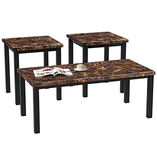 MOOSENG Living Room Table Set,3-Piece Marble Table Set with Marble-Looking Top - Includes Coffee Table & 2 End Tables, Black Brown