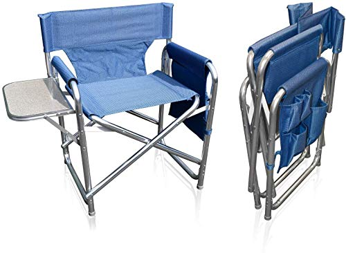 MP Essentials Strong Sturdy Portable Travel Sports Directors Chair with Pockets & Table (Blue)