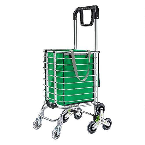 KDMB Handwagen Garten Bollerwagen,35 Liter Einkaufstrolley 8 Räder Einkaufstasche Faltbar Stabil Treppensteigerfunktion Abnehmbare Tasche Multifunktional Stabiler Stahlgestell Shopper