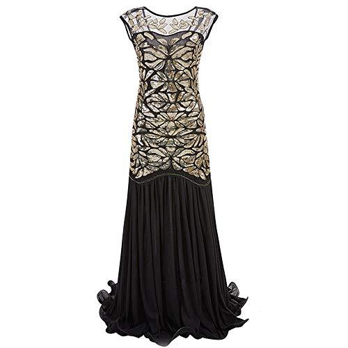 Dicomi Damen Pailletten Kleid 1920er Jahre inspiriert Pailletten Perlen Lange Quaste Einsätze Kleid Retro Abendkleider Gold XL