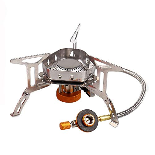 Sagafly Portable Camping Gas Stove Mini, 3500W Windproof Backpacking Stove with Piezo Ignition Outdoor Cooker Burner for Picnic