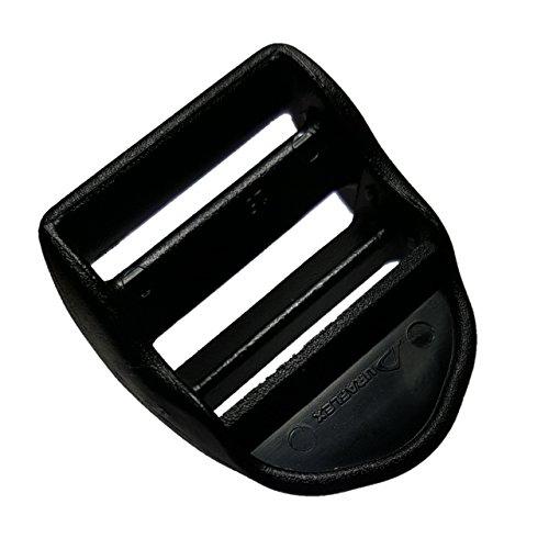 Plastic Ladder Lock Tri Glide for Adjustable Webbing Military Grade 2QTY (Black, 1 Inch)
