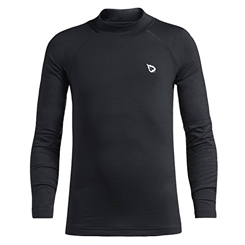 BALEAF Youth Boys Girls Compression Thermal Shirt Fleece Baselayer Long Sleeve Mock Top Black Size M