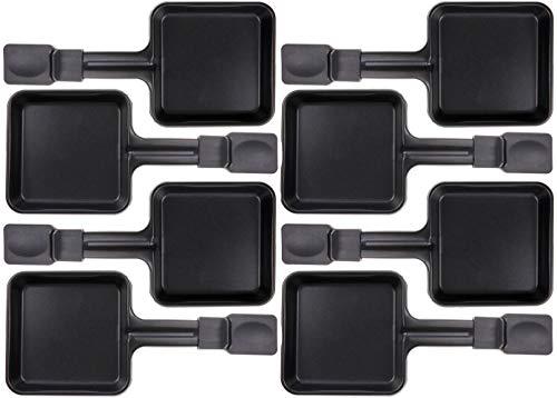 8x Raclette Pfännchen 23178 10x10cm, Emailliert, Universell für Raclettes (Maße siehe Text)