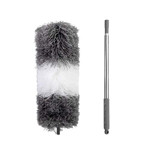 XMCF Adjustable Microfiber Dusting Brush, Extendable Bendable Feather Duster, Air-condition Car Furniture Household Hand Cleaning Brush - Pole Up to 96.5'' (Size : A)