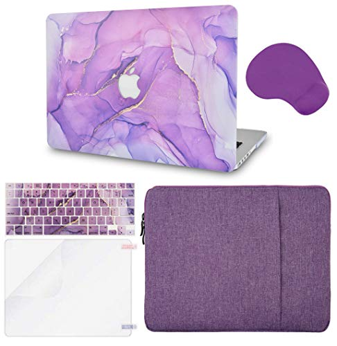 LuvCase 5 in 1 Laptop Case Compatible withMacBookPro 13' (2021/2020) with Touch Bar A2338 M1/A2251/A2289HardShellCover, Sleeve, Mouse Pad, Keyboard Cover, Screen Protector(Lavender Marble)