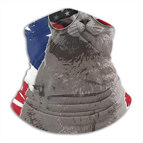 Cathycathy Grappige USA kat Amerikaanse vlag zonnebril unisex halsverwarmer gamasche bivakmuts hoofddeksel