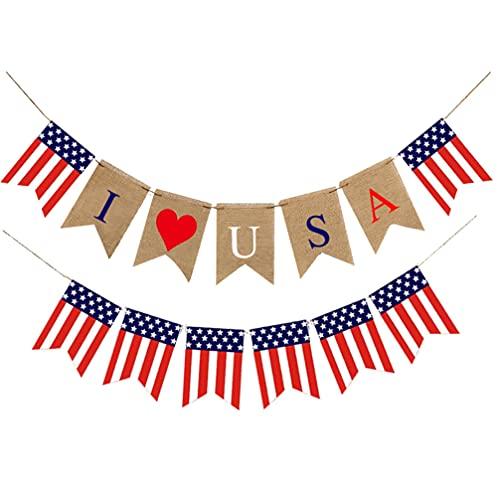 NUOBESTY 2 Piezas Bandera de Arpillera del Día de La Independencia Bandera Patriótica Bandera Americana Guirnalda Bandera de EE. UU. Bandera del Empavesado 4 de Julio Decoraciones de