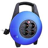 AS Schwabe 16094 - Carrete alargador de cable (10 m, H05VV-F 3G1,5, IP20 en interiores), color azul y negro