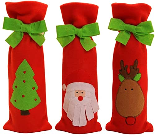 dh-10 Decorazioni di Natale-Ornamenti di Natale,Copribottiglie di Natale Set di 3 Pezzi Set di copribottiglie di Nozze Borse Babbo Natale Borsa per Albero di Natale Decorazioni per la tavola Regal