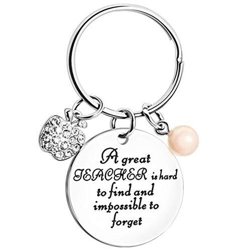 Jewelry meiqi Llavero personalizado de agradecimiento para profesores, de acero inoxidable, con texto grabado personalizado para regalo de agradecimiento