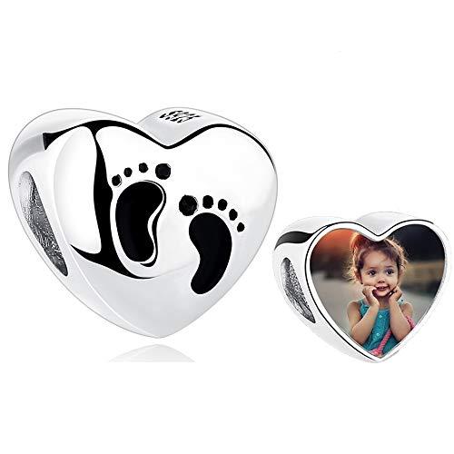 Gaosh Colgantes Personalizados de Fotos con dijes de corazón con Motivos Grabado de Cuentas de Plata de Ley 925 para Madre Regalo para Navidad Cumpleaños de acción de Gracias (Pie del bebé)