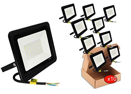 POPP® juegos de 5 y 10 Floodlight Led Foco Proyector Led 10w 20w 30w para Exterior Iluminación Decoración 6000k luz fria Impermeable IP65 Negro y Resistente al agua. (Focos 10 Watios, 10 unidad)