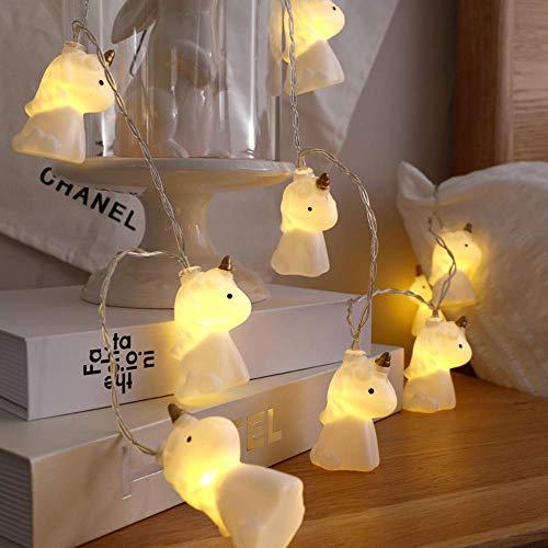 Lalia Einhorn Lichterkette, warmes weiß, 1,8m, batteriebetrieben, Geschenk, Mädchen, für Kinder und Erwachsene, Kindergeburtstag, Kinderzimmer, Unicorn, weiß/gold, Weihnachtsbeleuchtung