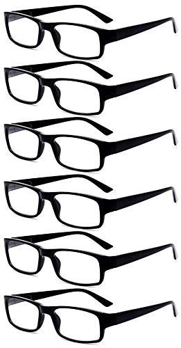 KOOSUFA Lesebrille Herren Damen Retro Rechteckige Federscharniere Anti Müdigkeit Brille Vollrandbrille Nerdbrille mit Stärke 1.0 1.25 1.5 1.75 2.0 2.25 2.5 2.75 3.0 3.25 3.5 3.75 4.0 (6 Stück, 1.75)