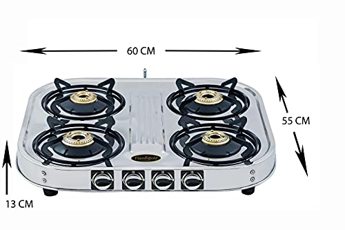 Flamingold 4 Burner Gas Stove Stainless Steel LPG Four Big Size cooktop Heavy Duty Rust Proof Body Brass Burner, Silver 24