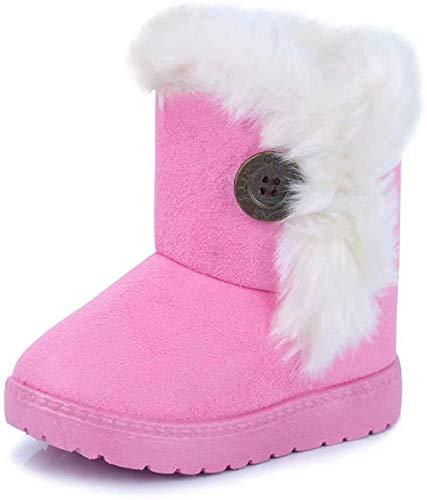 Vorgelen Botas de Nieve para Niños Invierno Felpa Botines Calentar Botas de Nieve Bebés Antideslizantes Zapatos Botas (Rosa - 21 EU = Etiqueta 22)