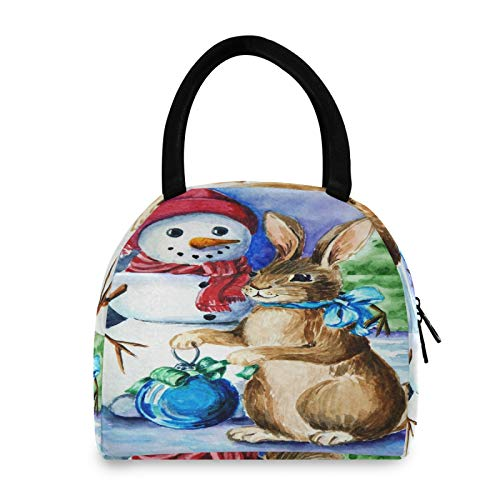 JNlover - Bolsa térmica térmica para almuerzo, diseño de muñeco de nieve, para mujeres, hombres, niños, reutilizable, para picnic, trabajo, escuela, camping