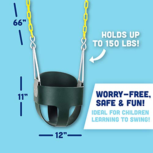 High Back Full Bucket Toddler Swing Seat with Plastic Coated Chains and Carabiners for Easy Install- Green