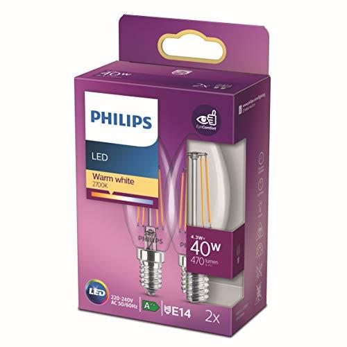 Philips - Bombilla LED Cristal, 40W, Vela Filamento E14, Filamento, Luz Blanca Cálida, No Regulable, Pack de 2 Unidades
