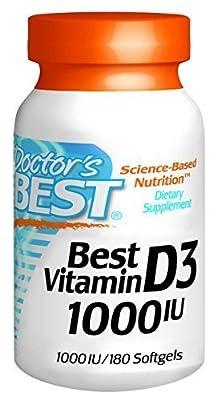 Doctor's Best Best Vitamin D3 1000 IU, Softgel Capsules, 180-Count by Doctor's Best from Doctor's Best