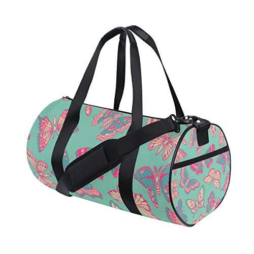 Ajinga - Borsone da viaggio con farfalle, colore: Rosa