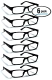 6 Pack Reading Glasses by BOOST EYEWEAR, Traditional Black Frames, for Men and Women, with Comfort Spring Loaded Hinges, Black, 6 Pairs (+1.25)