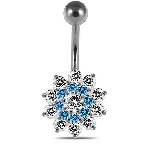 AZARIO LONDON Light Blue CZ Stone Studded Tri Layer Flower 925 Sterling Silver Belly Bar Piercing Jewellery