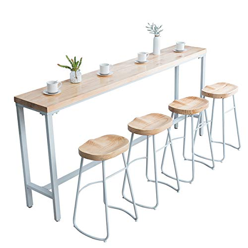 Lxn Solid Wood Bar Table,Pub Dining Table with White metal legs,Modern simplicity high table suitable for Home, Hotel,Dining Room, Kitchen,Bar (Excluding bar chair)