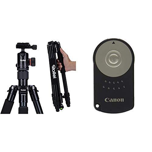 Rollei C5i - kompaktes, leichtes, Allround Fotostativ aus Aluminium mit Kugelkopf und Stativtasche, Verwendbar als Dreibeinstativ, Ministativ & Canon RC-6 Infrarot-Fernauslöser