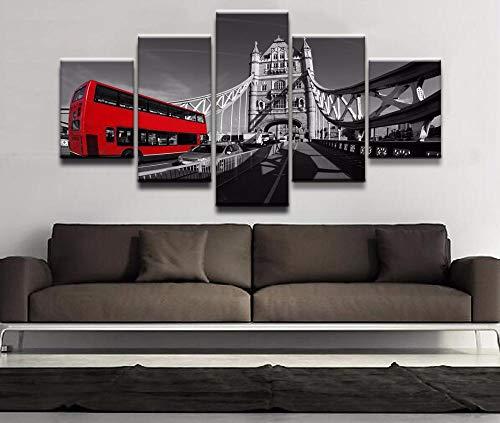 JJJKK Cuadro En Lienzo, Cuadros Impresos En Lienzo,Imagen Impresión, Pintura Decoración, Cuadro Moderno En Lienzo 5 Piezas XXL,Autobús de Londres,150x80cm