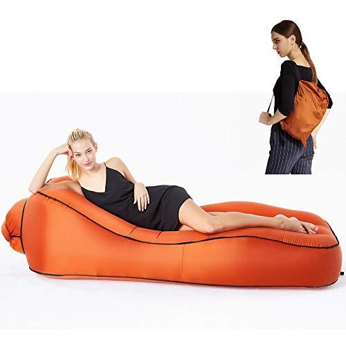 anruo Aufblasbare Liege Luft hängematte Schlafsack Outdoor Camping matratze Kissen strandkorb faul Tasche Bett