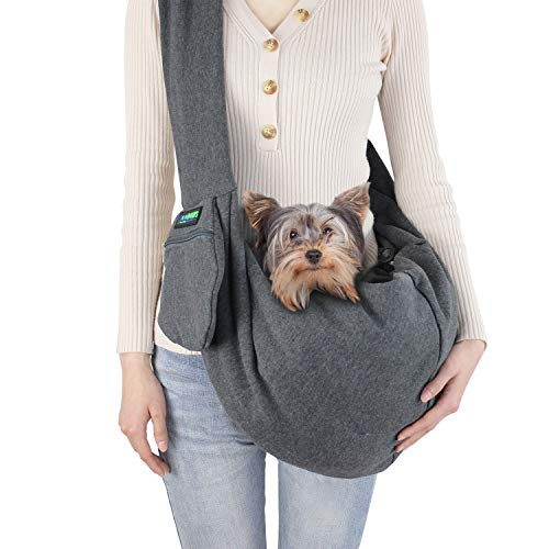 JESPET Comfy Pet Sling for Small Dog Cat with Adjustable Strap, Hand Free Sling Bag Breathable Soft Knit with Front Pocket, Travel Puppy Carrying Bag, Pet Pouch. Machine Washable (Grey)