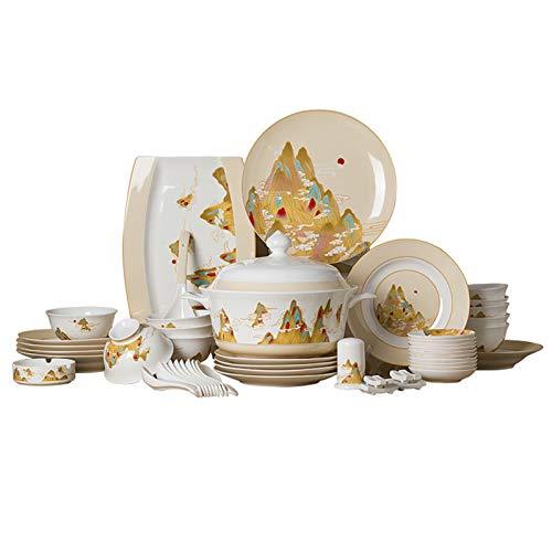 Juegos De Vajillas De Porcelana, caja de regalo Vajilla de porcelana de hueso Conjunto de 46   Juego de cuenco de porcelana para cereales y plato de carne para regalo de boda
