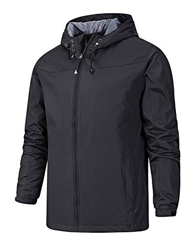 Boogear Mens Hiking Rain Shell Jacket Outdoor Waterproof Lightweight Travel Windbreaker Coat Black