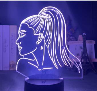 Female Singer Ariana Grande Night Light Bedroom Romantic Table lamp Touch Night Light, 2, Birthday Gift for Family and Children