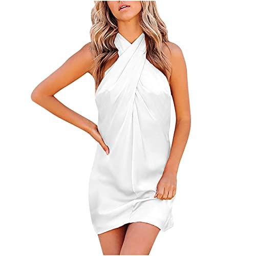 pamkyaemi Vestido de verano para mujer, elegante, largo hasta la rodilla, de un solo color, sexy, sin mangas, ajustado, para la playa, para mujer, vestido corto, club, vestido envolvente Blanco S