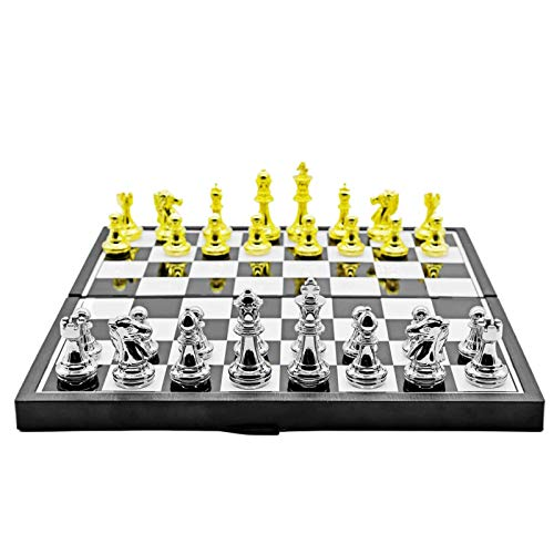 OOTD Foldable Alloy Chess Set, 3030cm Lightweight Portable Travel Board Game Alloy Chess Pieces Foldable Plastic Chessboard Great For Travel Interactive Brain Exercise Chess Game