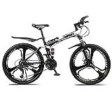 RPOLY 24 Velocidad Bicicleta de Montaña Plegable, Doble absorción de Choque, Variable Fuera de la Carretera Bicicletas de Velocidad con 3 radios Ruedas,Black_24 Inch