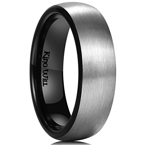 King Will Basic 8mm Titanium Ring Brushed Black Domed Fit Wedding Band for Men P 1/2