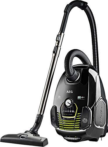 AEG VX7-2-ECO Aspiradora de Trineo Con Bolsa. 650 W de Potencia, Filtro Higiénico Lavable, Radio de acción de 12m, Silencioso, 69dB de Ruido, Ecológico, Cepillos Suelos y Parquet, Color Negro