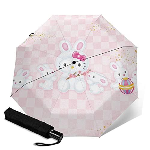 Paraguas triple plegable que abre y cierra automáticamente la protección UV de viaje plegable y cómodo de llevar